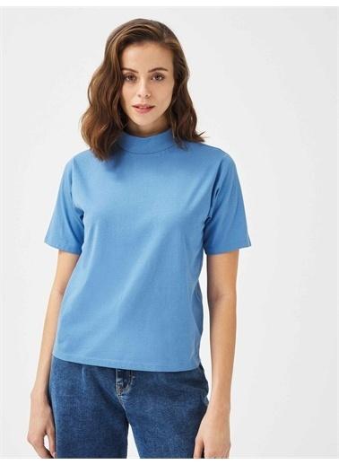 Xint XINT Dik Yaka %100 Pamuk Rahat Kesim Basic Tişört Mavi